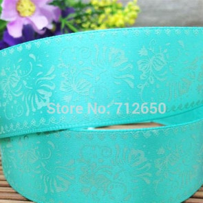 25mm Cartoon Printed Stofbånd - Teal Damask