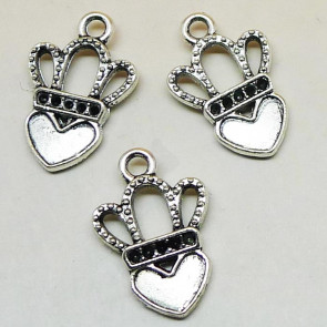 Findings Vintage Heart Crown Charms 17x12mm - Silver Plated