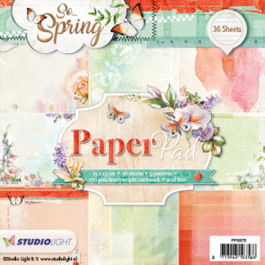 "StudioLight Enkeltsidet Paper Pad 6x6"" - So Spring Orange-Grøn TASTER"