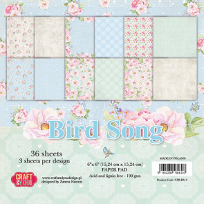 Craft & You Design Bird Song Enkeltsidet Paper Pad 6x6""