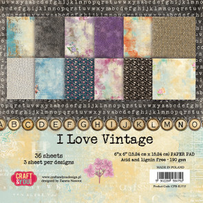 Craft & You Design I Love Vintage Enkeltsidet Paper Pad 6x6""