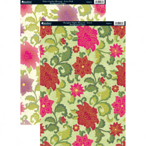 Kanban A4 Background Paper - Shanghai Nights Blossom, Green & Tokyo Garden Blossom, Ivory Pink 2-pack