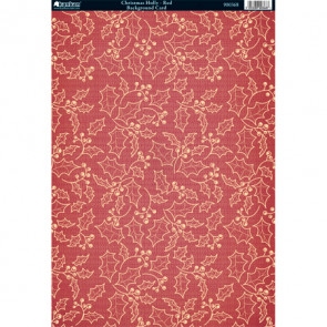 Kanban A4 Background Card - Christmas Holly Red