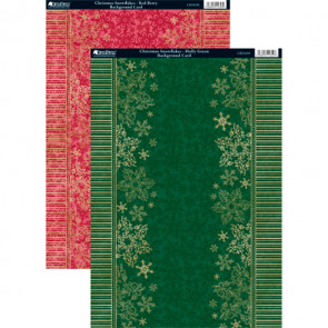 Kanban A4 Background Card - Christmas Snowflakes Red Berry & Holly Green 2-pack