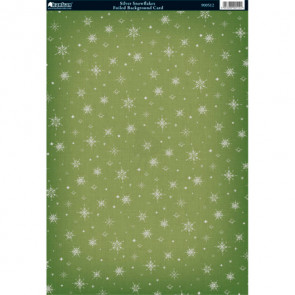 Kanban A4 Foiled Background Card - Silver Snowflakes