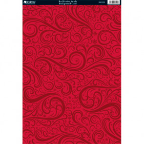 Kanban A4 Background Card - Red Festive Swirls
