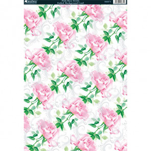 Kanban A4 Foiled Background Card - Pink Rose Swirls