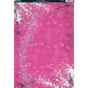 Kanban A4 Foiled Background Card - Pink Grunge
