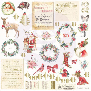 Prima Marketing Christmas In The Country Cardstock Ephemera 42/Pkg Shapes, Tags, Words, Foiled Accents