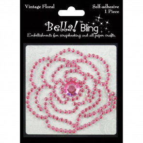 Ruby Rock-It Bling Self-Adhesive Rhinestone Vintage Floral - Pink