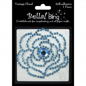 Ruby Rock-It Bling Self-Adhesive Rhinestone Vintage Floral - Blue