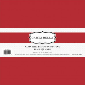 "Carta Bella Designer 80 lb Cover Cardstock 12x12"" - Brick Red Linen"