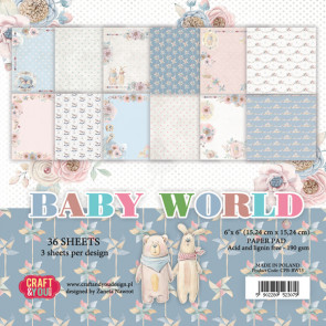 "Craft & You Design Dobbeltsidet Paper Pad 6x6"" Baby World TASTER"