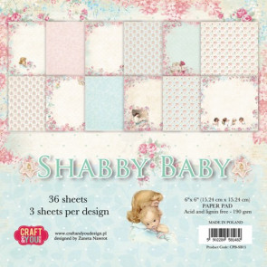 "Craft & You Design Dobbeltsidet Paper Pad 6x6"" Shabby Baby TASTER"