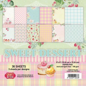"Craft & You Design Dobbeltsidet Paper Pad 6x6"" Sweet Dessert TASTER"