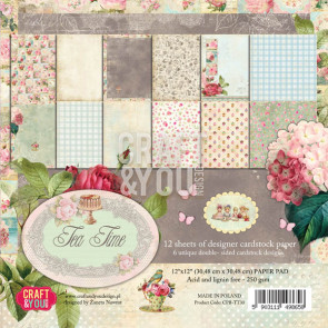 "Craft & You Design Tea Time Dobbeltsidet Cardstock 12x12"" Paper Pad"