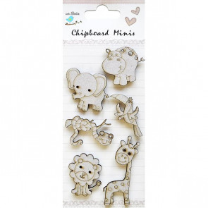 Little Birdie Wild Animals 6pc Chipboard