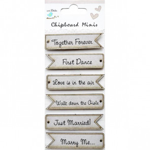 Little Birdie Wedding Words 6pc Chipboard