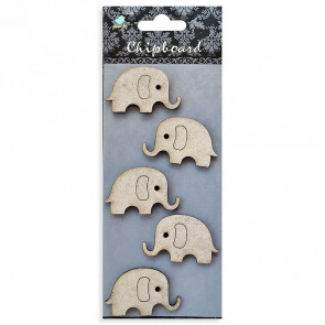 Little Birdie Chipboard Elephants 5Pcs