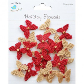 Little Birdie Burlap Beaded Butterflies Natural & Red Holiday Elements