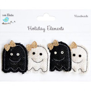 Little Birdie Halloween Puffy Ghost W/ Bow Black & White 4pcs