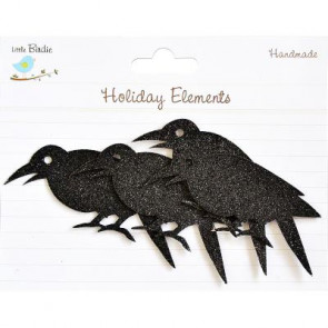 Little Birdie Halloween Chipboard Blings Crows Black 1 stk