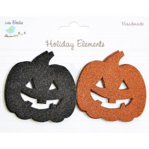 Little Birdie Halloween Chipboard Blings Pumpkin Black & Orange 2pcs