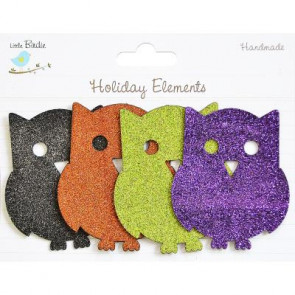 Little Birdie Halloween Chipboard Blings Owls 4pcs