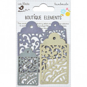 Little Birdie Laser Cut Tags Driftwood Grey 4pcs Boutique Elements