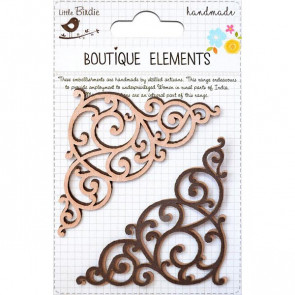 Little Birdie Laser Cut Flourishes Clay Caramel 4pcs Boutique