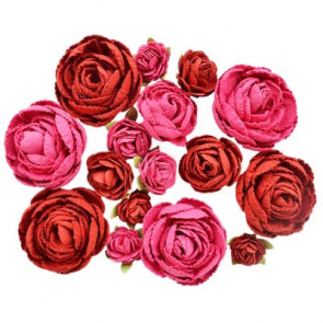 Little Birdie English Roses Cerise Pink 16pcs Boutique Elements