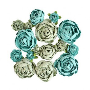 Little Birdie English Roses Pacific Blue 16pcs Boutique Elements