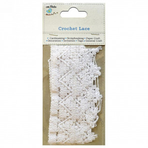 "Little Birdie Crochet Lace Banner Design 1"" White 1mtr"