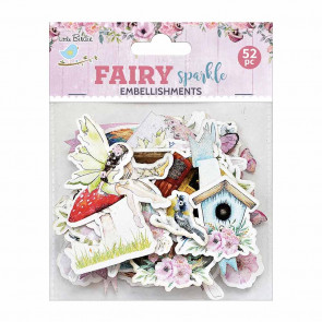 Little Birdie Ephemera Fairy Sparkle Embellishments 52pc