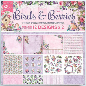 """Little Birdie 6x6"""" Paper Pack - Birds And Berries 24 sheets"""