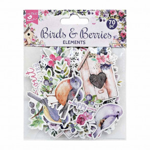 Little Birdie Ephemera Birds And Berries 70pc