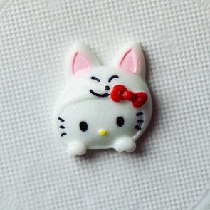 Resin Hello Kitty Hoved 25x21 mm - Hvid Kanin