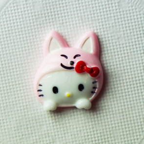 Resin Hello Kitty Hoved 25x21 mm - Lyserød Kanin