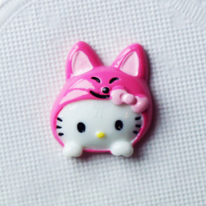 Resin Hello Kitty Hoved 25x21 mm - Pink Kanin