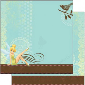 "Disney 12x12"" Enkeltsidet Papir - Tinker Bell With Bird"