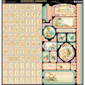 "Graphic 45 Sweet Sentiments Cardstock Stickers 12x12"" - Alpha, Borders, Tags, etc"