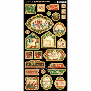 "Graphic 45 St Nicholas Chipboard Die-Cuts 6x12"" Sheet - Decorative"