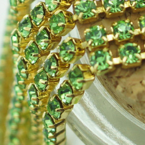 2,7mm Rhinestone Crystal Cup Chain - Green Gold