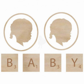 KaiserCraft Wooden Flourishes - Baby Face Girl