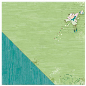 "LYB Fern & Forest Girl Dobbeltsidet Cardstock 12x12"" - Fairy Flight/Teal Woodgrain"