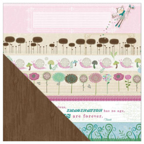 "LYB Fern & Forest Girl Dobbeltsidet Cardstock 12x12"" - Blooming Bands/Brown Woodgrain"