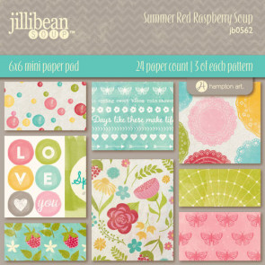 "Jillibean Soup Paper Pad 6x6"" - Summer Red Raspberry Soup TASTER"