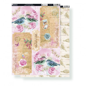 Kanban A4 Paper Craft Toppers - Beautiful Birds & Background Cards Birds On Driftwood