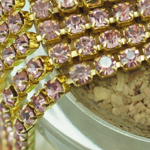 2,7mm Rhinestone Crystal Cup Chain - Pink Gold