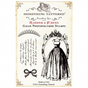 "Something Tattered Clear Stamps 4x4"" - Dress & Tiara"